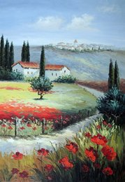Wholesale Field Poppies - Framed Italian Home Village Town Red Poppy Field Floral,Pure Hand-painted Art Oil painting On Thick Canvas,Multi size Available J008