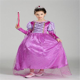 Wholesale Sleeping Beauty Dresses For Girls - DHL Cartoon Girl Dresses Belle Princess Dress Girl Purple Rapunzel Dress Sleeping Beauty Princess Kids Sleeve Dress for Party Birthday