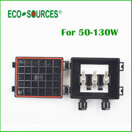 Wholesale connect connections - Wholesale-ECO-SOURCES 50-130W Solar Junction Box waterproof IP65 for Solar Panel connect PV Junction Box Solar Cable Connection With Diode
