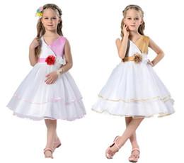 Wholesale Gauze Clothing Wholesale - Girl Party Dresses Stereo Flower V neck Gauze TUTU Princess Dress performance Dress Children Clothing free shipping