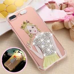 Wholesale Flash Crystal Case - For iphone 7 Case Transparnt Soft TPU Led Light Calling Flashing Crystal Diamond Cases Back Cover For iphone 5s 6s plus iphone 7 plus 539