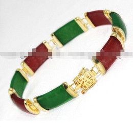 "Wholesale Black Jade Gold Bracelet - free shipping > Charming!Green Red Jade Chain Jewelry Bracelet 7.5""AAA G6"