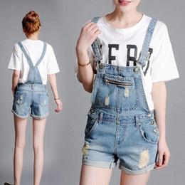 Wholesale Denim Bib Shorts Women - Wholesale- Summer denim shorts strap loose Siamese Bib,women boyfriend cotton straight short overalls jeans plus size