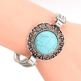 Wholesale Vintage Turquoise Gold Ring - Wholesale-Vintage Jewelry Hollow Out Tibetan Sliver Turquoise Charm Bracelet & Bangle for Christmas Gift