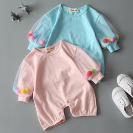 Wholesale Long Sleeve Bodysuit 12 Months - spring 2017 summer baby clothes kids boutique clothing baby girl rompers infant jumpsuits little girl pompom bodysuit newborn cotton onesies