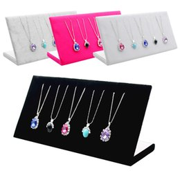 Wholesale Jewellery Stands For Necklaces - 3 Colors Velvet Pendant Display Stand Shelf Jewellery Holder Neceser Packaging necklace Organizer Rack For Shop Counter Display