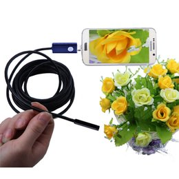 Wholesale Waterproof Endoscope Borescope - Black 2 in 1 7mm Lens 6 LED Android USB Waterproof Endoscope Camera Borescope Inspection Camera with 1m Length Cable