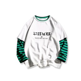 Wholesale Plaid T Shirt Hoodie - Spring and autumn hoodies trend of Korean students leave two men's embroidered striped T-shirt