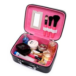 Argentina Al por mayor-2017 Nuevas Mujeres de LA PU de Cuero Bolsa de Cosméticos Organizador Portátil de moda Caja de Almacenamiento de Maquillaje de Gran capacidad de la Mujer 2 Tamaño cheap big size makeup box Suministro