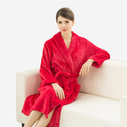 Wholesale Long Peignoir - Wholesale- Lovers Super Soft Silk Flannel Kimono Bathrobe Wedding Peignoir Bridesmaid Bath Robes for Women Dressing Gown Men Long Sleepwear