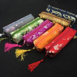 Wholesale Package Long Necklace - Waterproof Tassel Long Zipper Bags Silk Brocade Travel Jewelry Necklace Storage Pouch Pencil Case Makeup Tools Packaging Bag Cosmetic Purse