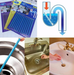 Wholesale Pipe Drain - Sani Sticks Kitchen Toilet Drain Pipes Clear Pipeline Rod Stickers Keep Your Drains Clear Cleaning Essential Tools 12pcs set OOA2398