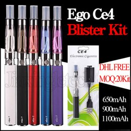 Wholesale E Cig Kit Blister Pack - Ego CE4 Blister Kit E Cigarettes 650mah 900mah 1100mah E Cig Vaporizer Pen 510 EGO T Battery CE4 Atomzier Clearomizer Starter Kit Packs