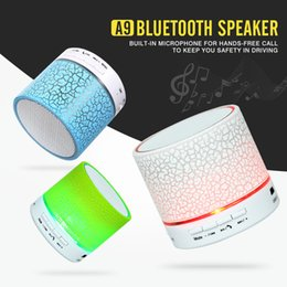 Wholesale Cheap Wholesale Cars Speakers - Cheap Crack Mini A9 Wireless Bluetooth Speaker Portable LED Hands Free TF USB Subwoofer Music Sound Player Speakers For Car Phone iphone PC
