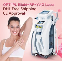 Wholesale E Light Yag - 5 in 1 Multifunction Strong Energy IPL Laser Hair Removal ND YAG Laser Tattoo Removal Beauty Machine IPL&RF & ND YAG&E-light