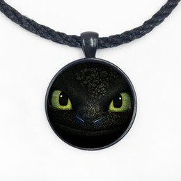 Wholesale Crystal Dragon Jewelry - Wholesale Glass Dome Pendant Necklace new design dragon trainer toothless face pendant necklace handmade unique jewelry