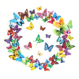 Wholesale large 3d butterflies for decoration - 12pcs lot Cinderella Butterfly 3D Butterfly Decoration Wall Stickers 3D Butterflies PVC Removable Wall Stickers Butterflys 0706002