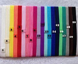 Wholesale Shimmer Elastic Headbands - 100pcs  Lot 20 Colors Wholesale Elastic Satin Headband Girl Flexible Shimmery Shimmer Stretchy Hair Band Headwear Freeshipping