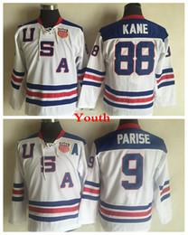Usa olympic kane jersey online-Giovani 2010 Olympic Team USA pullover del hokey # 88 Patrick Kane bambini # 9 Zach Parise Bianco Navy Blue USA Ragazzi cucita Hockey Jersey