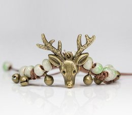 Wholesale Ceramic Animal Beads Wholesale - Sweet Ceramic Beads Hand-knitted Vintage Style Antique Bronze Plated Deer Head Charm Bracelet Christmas reindeer AA285
