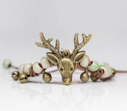 Wholesale Reindeer Head - Sweet Ceramic Beads Hand-knitted Vintage Style Antique Bronze Plated Deer Head Charm Bracelet Christmas reindeer AA285