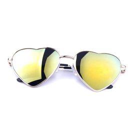 Wholesale Heart Shaped Fashion Glasses - Wholesale-Fashion Heart Shaped Sunglasses for Summer Women metal Reflective Lenes Sun Glasses Sports Style Sun Glass