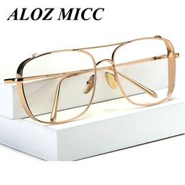2019 oculos sol vintage masculino ALOZ MICC Marca Designer Quadrado Mulheres Quadro de Metal Dos Homens Do Vintage Limpar Óculos de Armação Novo Oculos De Sol Lentes UV400 A217 oculos sol vintage masculino barato