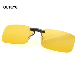 Wholesale Clip Drivers - Wholesale-OUTEYE UV400 Sunglasses Clip on Unisex Eyeglasses Night Driving Glasses Anti Glare Vision Driver Safety Sunglasses Yellow Lens
