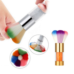 Wholesale Nail Art Dust Remover - Wholesale- Nail Dust Brushes Acrylic UV Nail Gel Powder Nail Art Dust Remover Brush Cleaner Rhinestones Makeup Foundation Tool FREE shippin