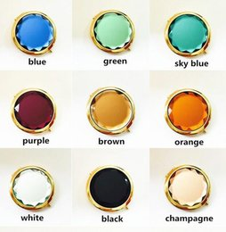 Wholesale Gold Compact Mirror - 50pc,Advertising Gifts Gold Crystal Beauty Makeup Folding Mirrors Double-side Golden Pocket Purse Handbag Travel Compact Mirror