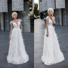 Wholesale Bridal Gowns Ostrich Feathers - A Line Wedding Dresses Free Shipping Ostrich Feather Scoop Neckline Cap Sleeves Bridal Gown Floor Length Custom Made Wedding Gowns