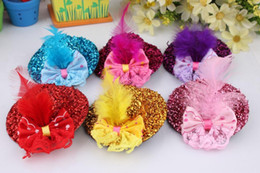 Wholesale wholesale fascinator hats - Hair Jewelry Children Baby Girl Mini Hat Hair Clips Feather Rose Top Cap Lace fascinator Costume Accessory headdress Plumed Hat Barrette 7CM