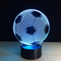 Wholesale Football Angels - 2017 Soccer Football 3D Optical Illusion Lamp Night Light DC 5V USB Charging AA Battery Wholesale Dropshipping Free Shipping