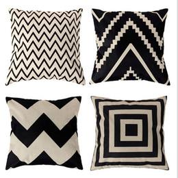 Wholesale Chevron Cushions - Home Print Pillowcase Decor Cushion Ripple Chevron Wave Linen Cotton Cushion Cover Home Decor Square Throw Pillow Case Pillowcase 2017