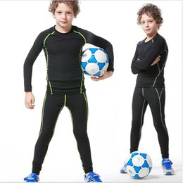 Wholesale Train Sets For Kids - New compression set for kids football basketball training clothing fitness running suits compressed shirt+tight leggings Running sets