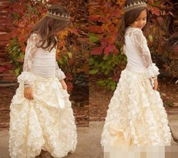 Wholesale Long Pretty Formal Dresses - Pretty Ivory Lace Flower Girls' Dresses Jewel Neck Beads Long Sleeves 2017 Floor-Length Hand Made Flowers Bow Kids Formal Gowns Custom