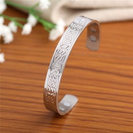 Wholesale Magnetic Products Health - Vintage Stainless Steel Health Care Product Magnetic Bracelet Embossed Eternal Knot Irish Amulet Jewelry Cuff Bangle Wristbands