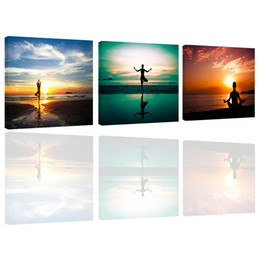 Wholesale Three Pieces Paintings - Amosi Art-3 Pieces Wall Art A Person's Yoga Exercise Sunset Seascape Picture Painting Print Canvas for Home Decor(Wooden Framed)