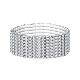 Wholesale Rowing For Sale - Fatory sale high Rhinestone Bracelet for Woman Girl Jewelry wedding Female Accessories 1-12 rows alloy chain