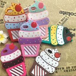 Wholesale Cover Iphone Cake - Cartoon Cherry Cake Ice Cream Soft Silicon Phone Back Cover Phone Case For iPhone 5 5S SE 6 6S Plus 7 Plus 8