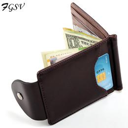 Wholesale korea coin purses - Wholesale- Korea fashion Brown grey color Money clips high quality leather men wallets hasp mini purses vintage men wallet XF127