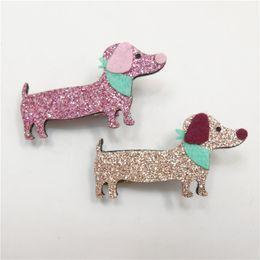 Wholesale Pink Dog Scarf - 20pc lot Felt Dachshund Hair Clip Glitter Pink Gold Dog Barrette Cute Scarf Cartoon Pet Baby Hair Clip Animal Boutique Girl Grip