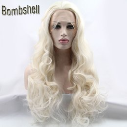 Wholesale Synthetic Lace Wig Hairline - Bombshell White Blonde Long Deep Wave Synthetic Lace Front Wig Glueless Heat Resistant Fiber Natural Hairline For Black White Women Stock