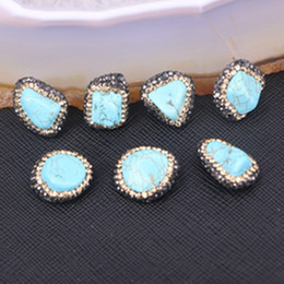 Wholesale Nugget Jewelry - 10pcs Blue Howlite Turquoise Nugget Connector Beads Charm Spacer Connectors Pave Crystal Turquoise Stone Jewelry