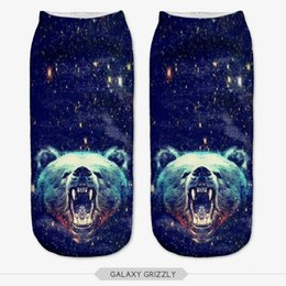 Wholesale Wholesale Galaxy Socks - Wholesale- NO286 3D Print Women Socks Galaxy Grizzly Bear Animal Low Ankle Calcetines Meia Sokken chaussettes femme fantaisie Sock Slippers