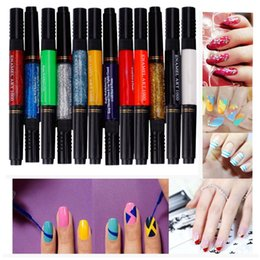 Wholesale Two Way Pen Brush - Wholesale- Beauty Girl 12 Colors Two-way 3D Acrylic Nail Polish Pen Dotting Brush Pure Solid Glitter Gel Nail Art Painting Kit DIYOct 19