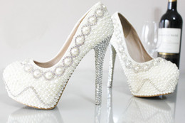 Wholesale Wedding Shoes Ivory Pearls - Elegant High Heeled Shoes for Wedding Bridal Sparkling Stock Fast Shipping Cheap Round Toe Platform Pumps Accessories with Pearls Crystal