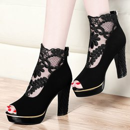 Wholesale Cheap Black Sexy Heels - New style peep toe shoes 2017 designer stiletto heels sexy lace cheap dress shoes high heel shoes