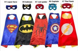 Wholesale Super Fancy - hot kids super hero capes 1 Cape+1 Masker chrismas gift boy children supe rhero spide rman vader super hero cape mask free shippin