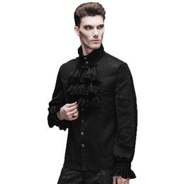Camisa negra volante online-Al por mayor-Nueva Inglaterra estilo gótico Flounce Tie camisa hombres Cusual Camisa negro blanco Camisa Masculina otoño Chemise cuello mandarín camisas